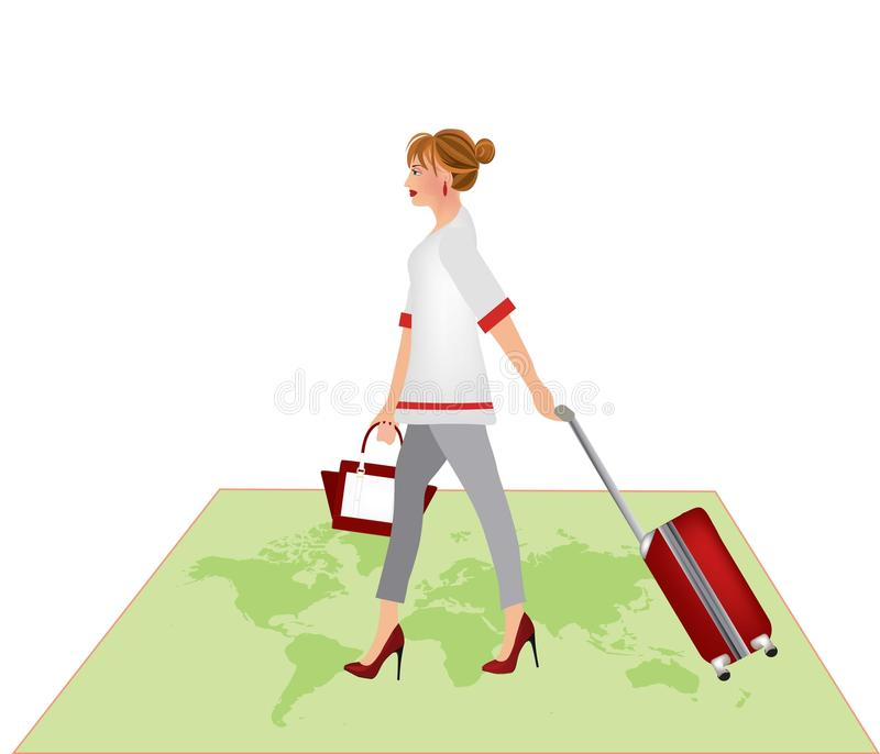 Vrouw die op wereldkaart lopen en een koffer dragen royalty-vrije illustratie