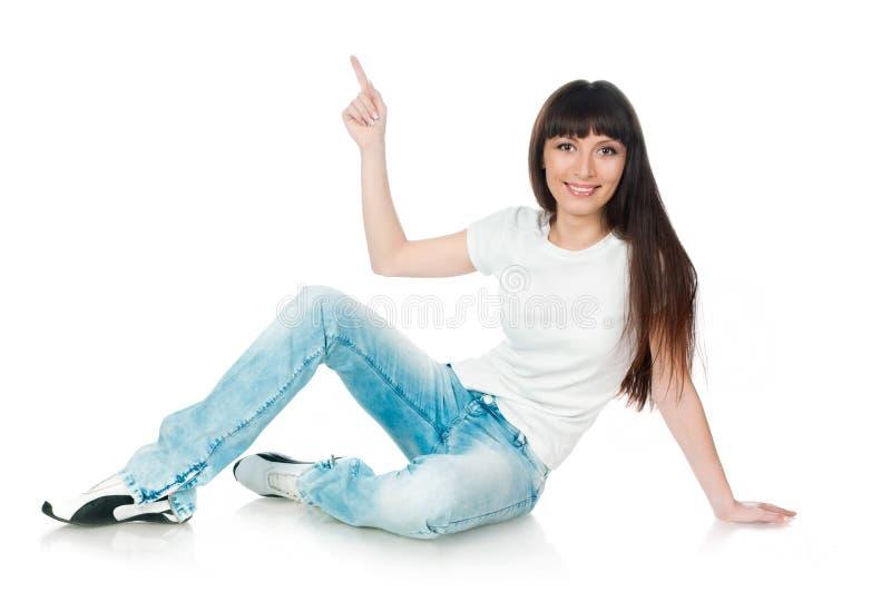 Vrouw die op wit toont stock afbeelding