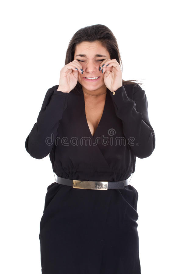 Vrouw die op witte achtergrond schreeuwen royalty-vrije stock afbeeldingen