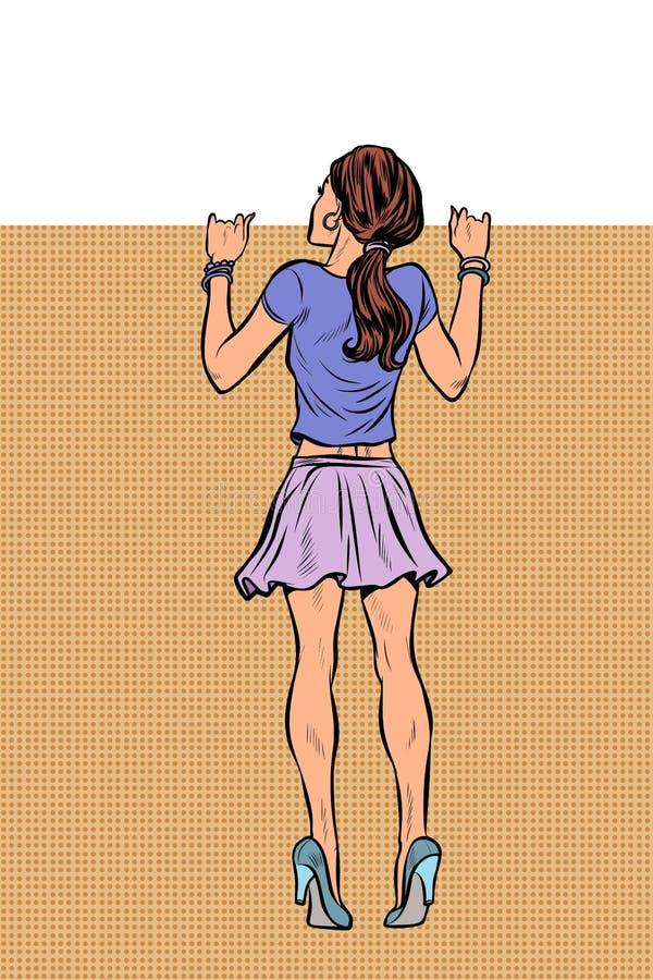 Vrouw die over de omheining kijken royalty-vrije illustratie