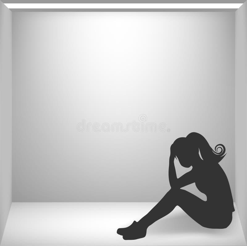 Vrouw die paniekaanval, paniekruimte, isolatie hebben royalty-vrije illustratie