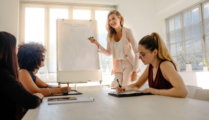 Vrouw die presentatie op begroting geven aan collega's stock foto
