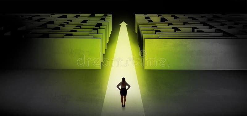 Vrouw die rechtstreeks tussen twee labyrinten doorgaan stock illustratie