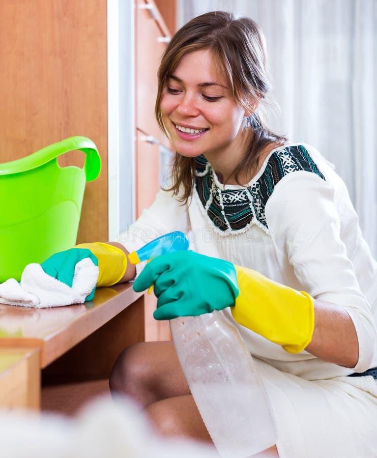 Vrouw die regelmatige schoonmaak doen stock afbeelding