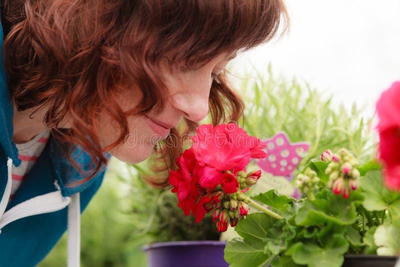 Vrouw die rode bloemen, rozen ruiken stock afbeeldingen
