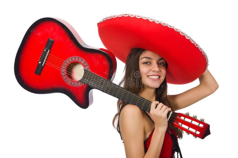 Vrouw die rode geïsoleerde sombrero dragen royalty-vrije stock foto