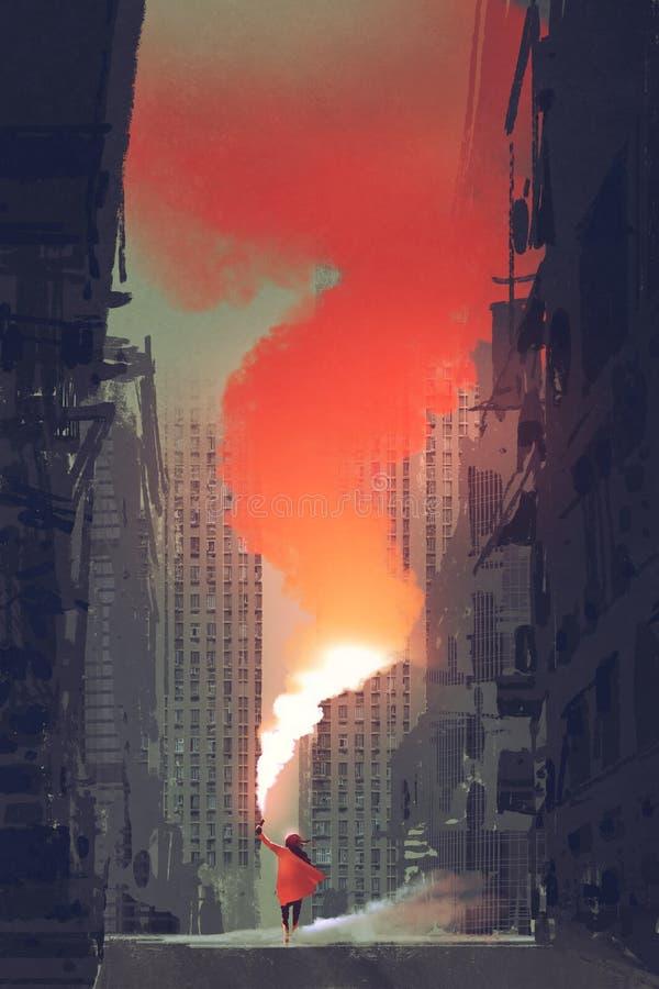 Vrouw die rode rookgloed op straat in verlaten stad houden vector illustratie