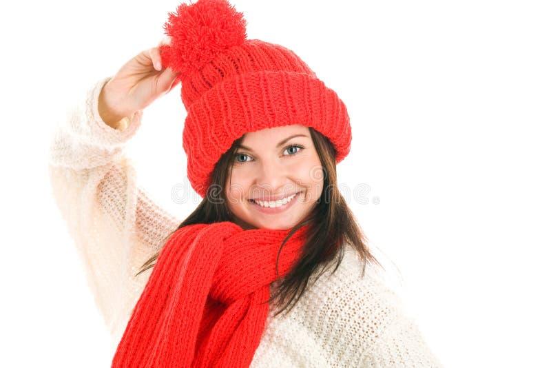 Vrouw die rode sjaal en GLB draagt royalty-vrije stock foto