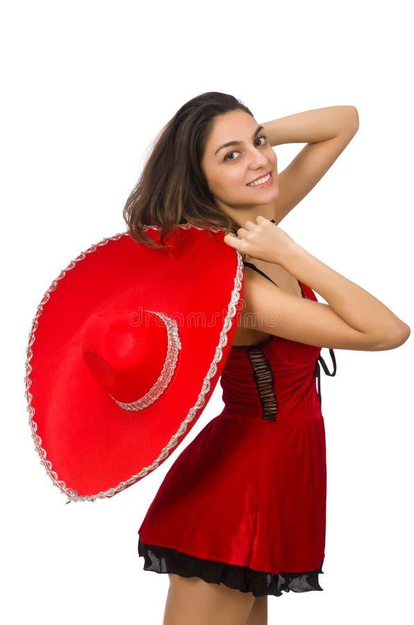 Vrouw die rode sombrero dragen stock afbeeldingen