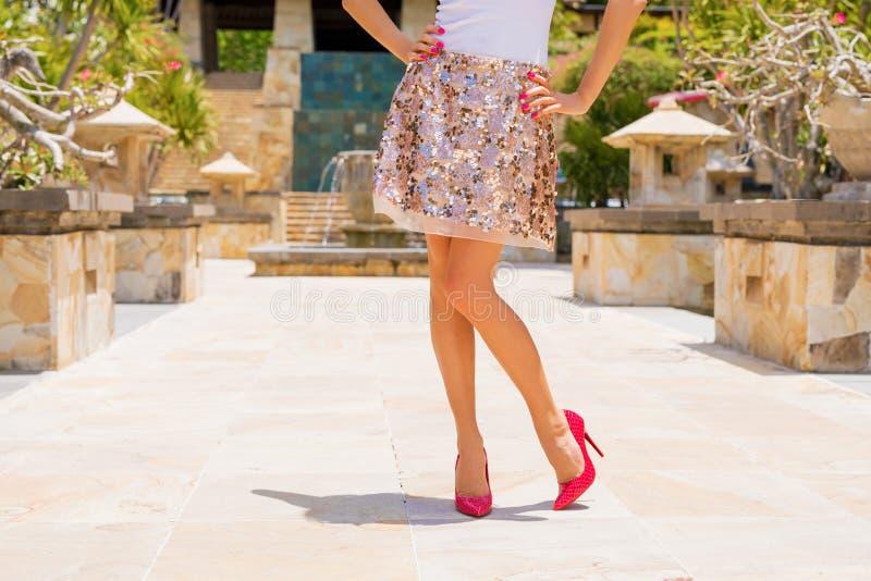 Vrouw die rok en rode hoge hielen dragen royalty-vrije stock foto