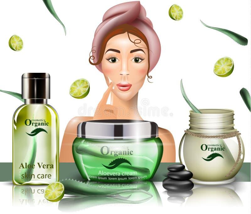 Vrouw die roomlotion op haar gezichtsvector gebruiken Realistische geplaatste schoonheidsproducten malplaatjeontwerp die onecht U stock illustratie