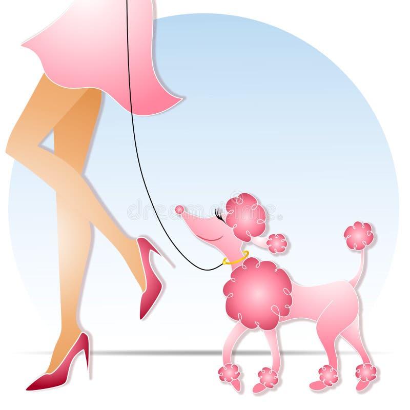 Vrouw die Roze Poedel loopt stock illustratie