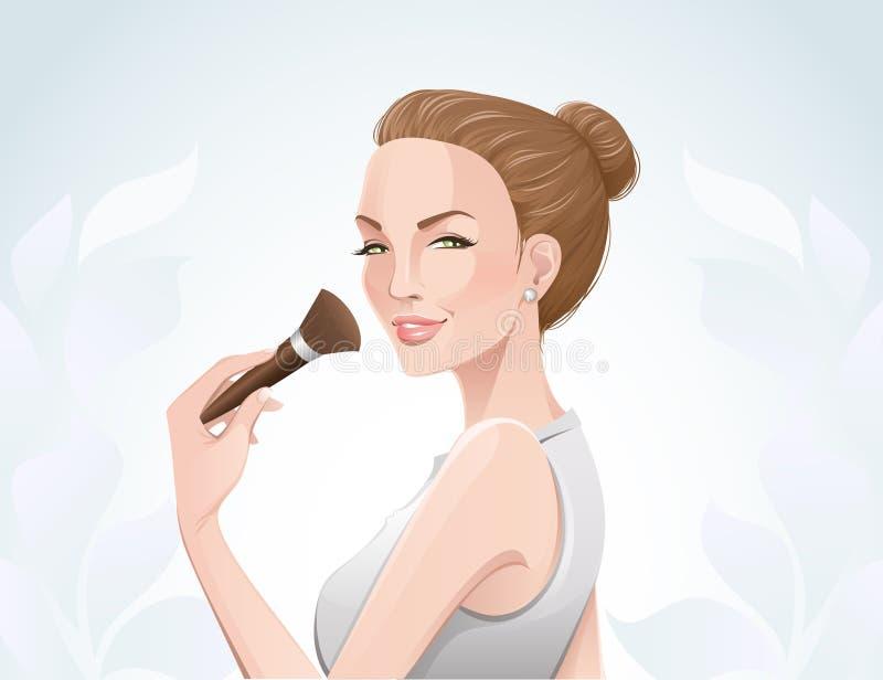 Vrouw die samenstelling toepast vector illustratie