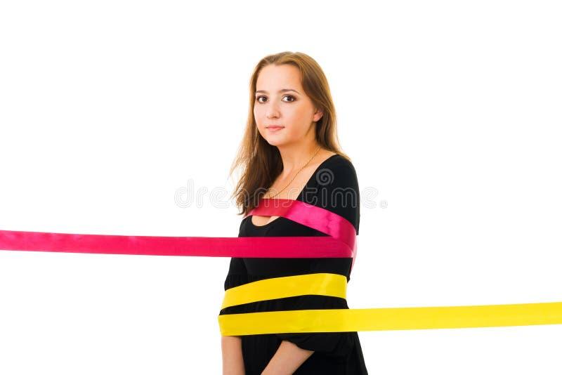 Vrouw die in schoonheid wordt opgesloten stock foto