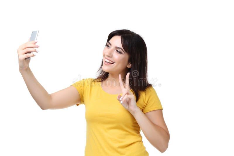 Vrouw die selfie maken stock afbeeldingen