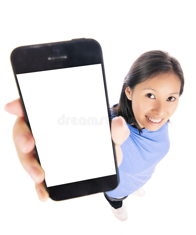 Vrouw die slimme telefoon tonen royalty-vrije stock afbeeldingen