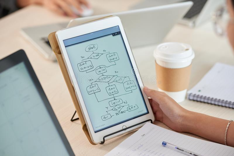 Vrouw die stroomschemadiagram op tablet bestuderen stock afbeelding