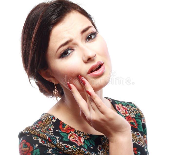 Vrouw die tandpijn hebben stock afbeelding