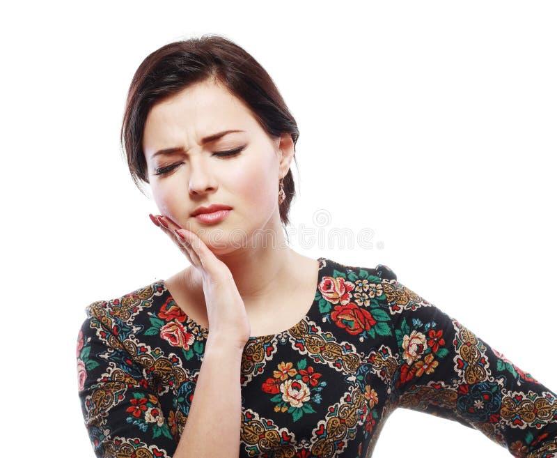 Vrouw die tandpijn hebben stock foto's