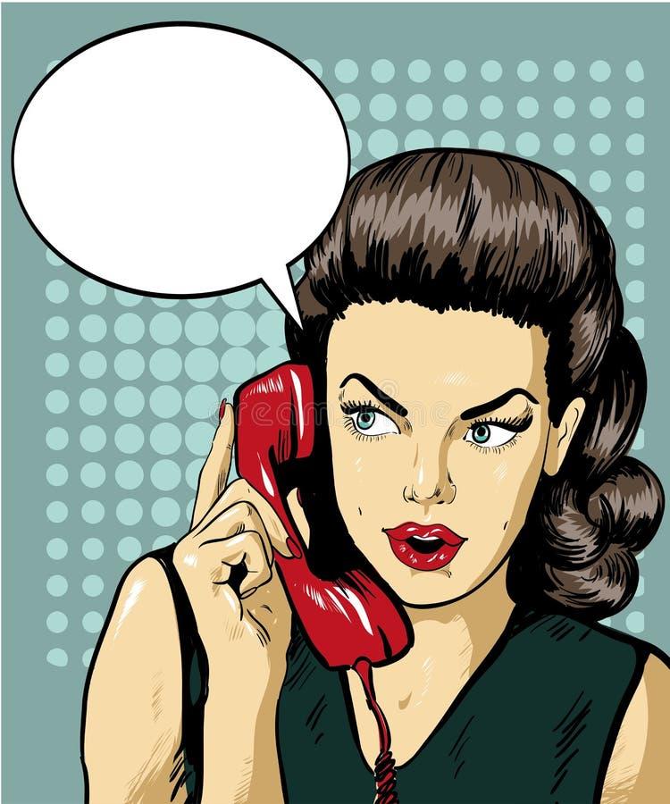 Vrouw die telefonisch met toespraakbel spreken Vectorillustratie in retro grappige pop-artstijl vector illustratie