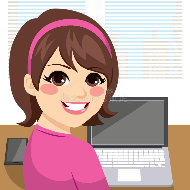 Vrouw die terug werken stock illustratie