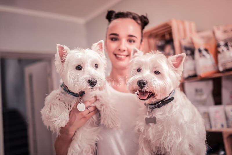 Vrouw die terwijl het doorbrengen van tijd met haar leuke honden glimlacht royalty-vrije stock afbeelding