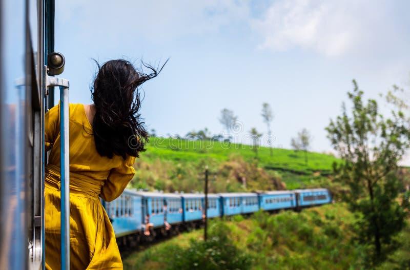 Vrouw die trein van rit genieten door Sri Lanka-theeaanplantingen royalty-vrije stock afbeelding