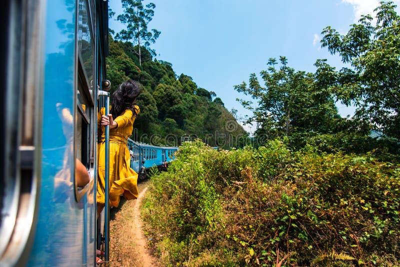 Vrouw die trein van rit genieten door Sri Lanka-theeaanplantingen royalty-vrije stock fotografie