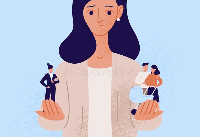 Vrouw die tussen familie of ouderverantwoordelijkheden en carrière of professioneel succes kiezen Moeilijke keus, het leven stock illustratie