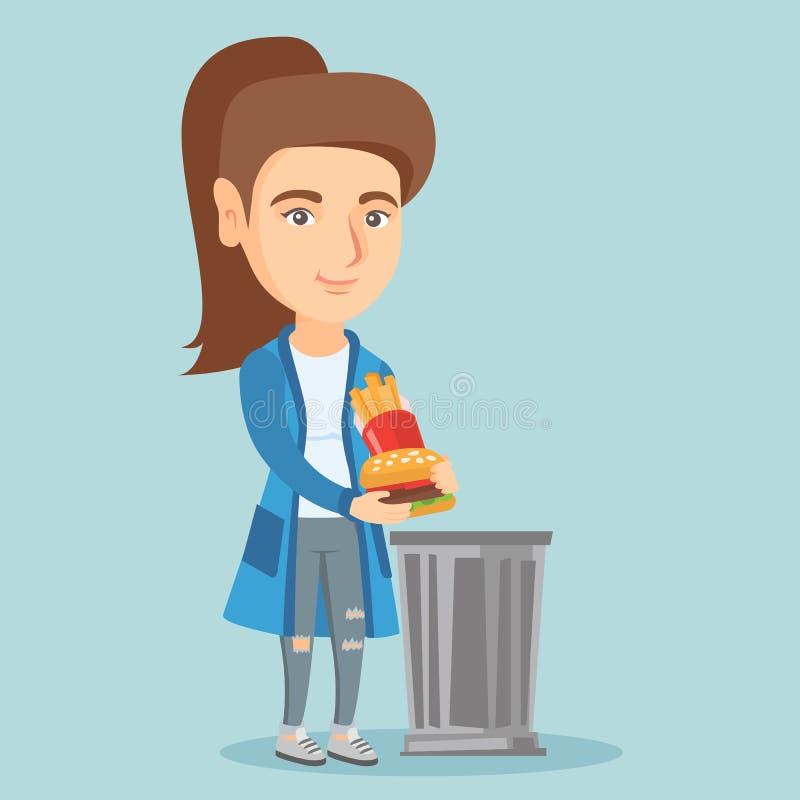 Vrouw die uit ongezonde kost werpen in de vuilnisbak vector illustratie