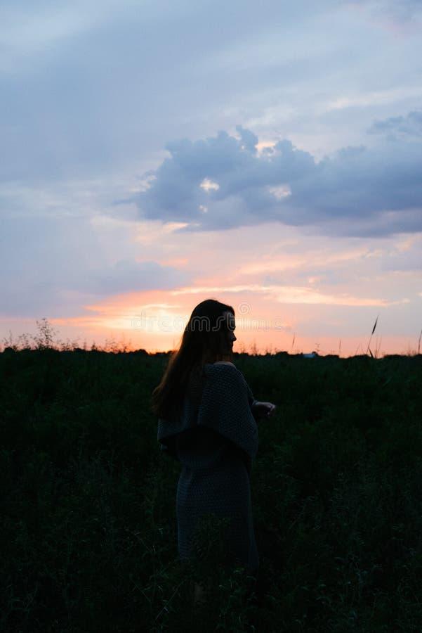 Vrouw die van aard in weide genieten Gebied van de de luchtzomer van de uitgestrekte wapens het verse ochtend bij zonsopgang stock fotografie