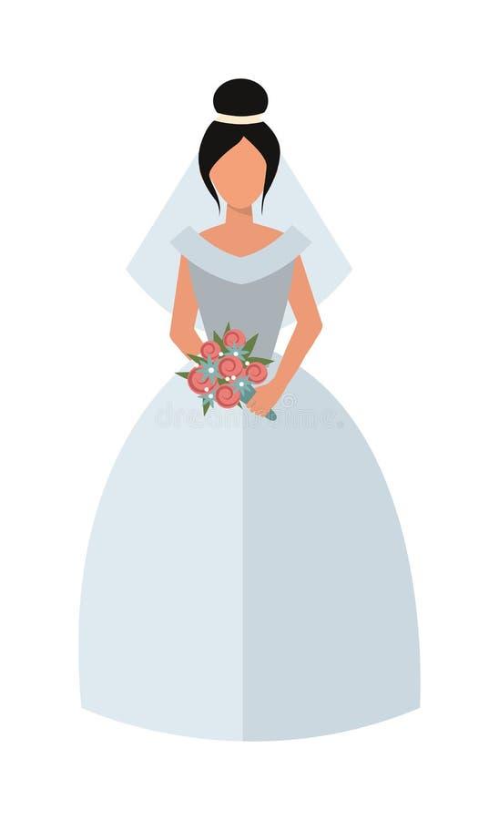 Vrouw die van de de manierbruid van de huwelijks de witte kleding van de het meisjesluxe vector van het het jongerekarakter drage royalty-vrije illustratie