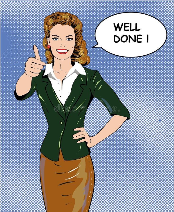Vrouw die van de pop-art retro stijl duim op handteken tonen met goed uitgevoerde toespraakbel Grappige getrokken ontwerpvector royalty-vrije illustratie