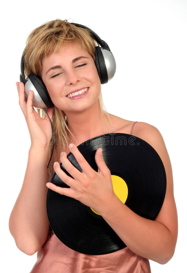 Vrouw die van Muziek geniet royalty-vrije stock afbeelding