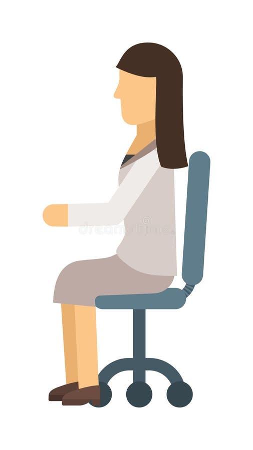 Vrouw die vectorillustratie zitten vector illustratie