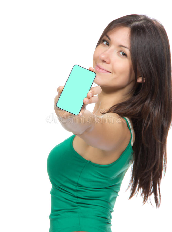 Vrouw die vertoning mobiele celtelefoon toont stock fotografie