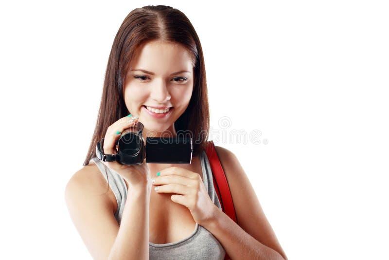 Vrouw die videocamera bekijken royalty-vrije stock foto's
