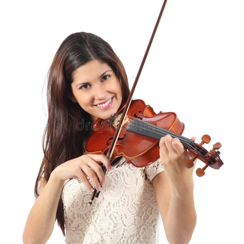 Vrouw die viool leren te spelen stock afbeelding
