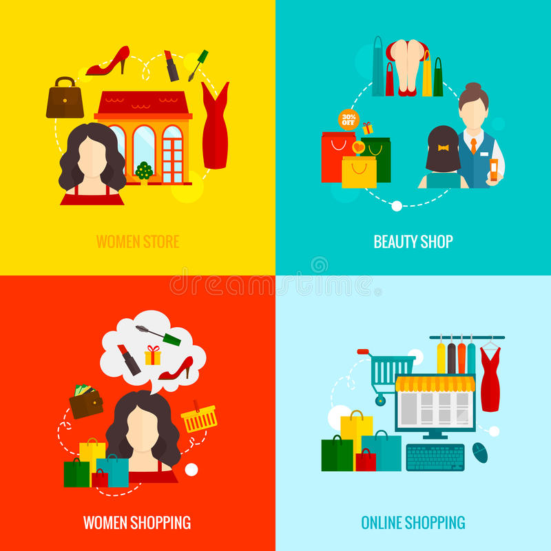 Vrouw die vlak winkelen vector illustratie