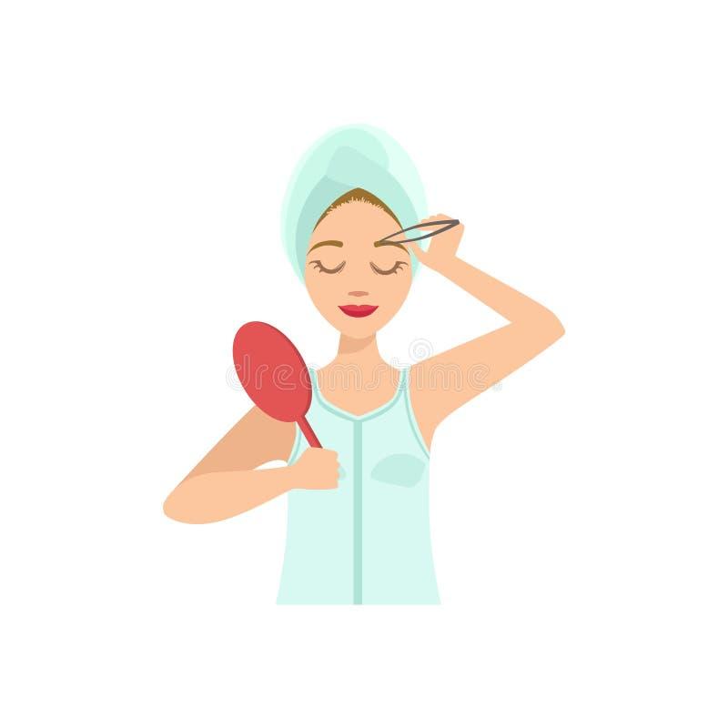 Vrouw die Wenkbrauwen met Tweezers Home Spa Behandelingsprocedure vormen vector illustratie
