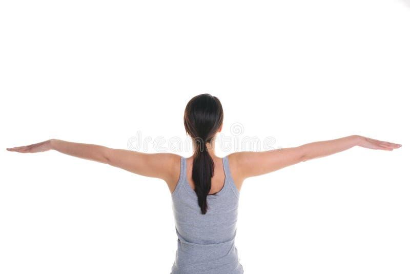 Vrouw die yoga achtermening doet royalty-vrije stock fotografie