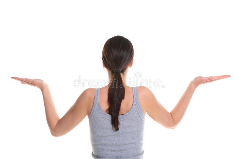 Vrouw die yoga achtermening doet. stock foto's