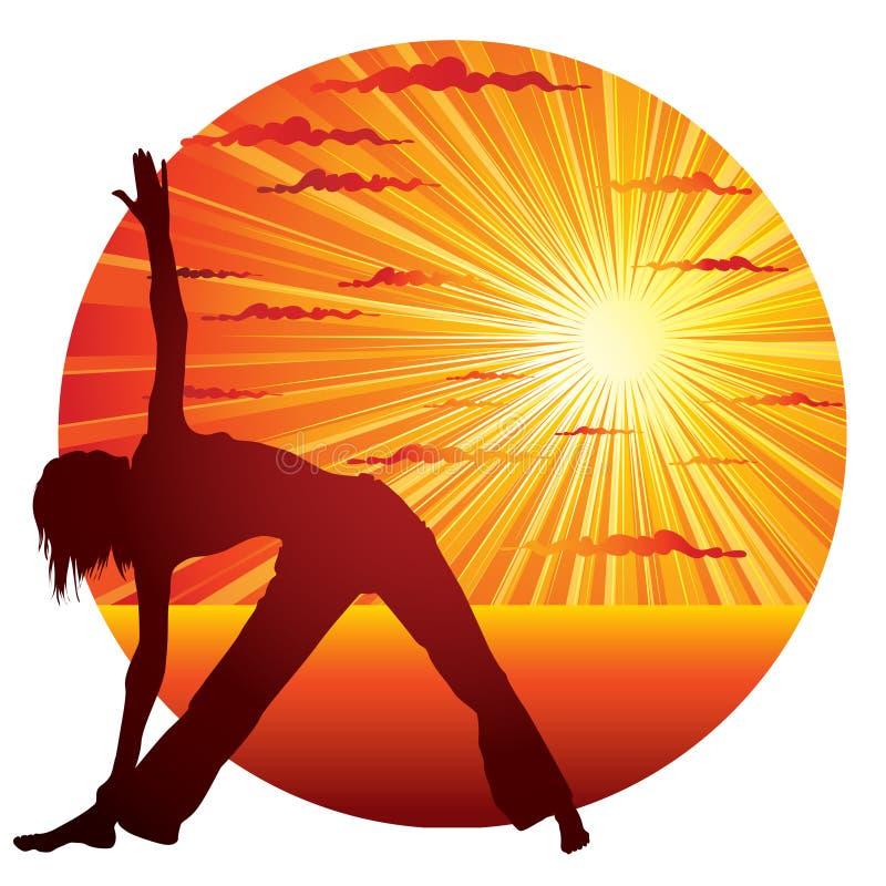 Vrouw die yogagymnastiek doet vector illustratie