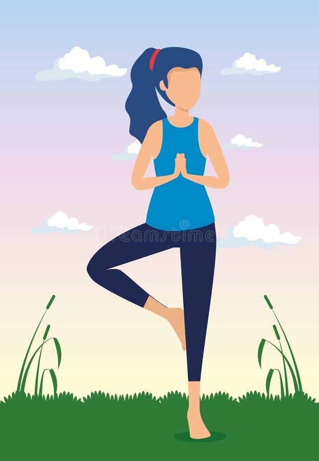 Vrouw die yogaoefening met installaties doen royalty-vrije illustratie