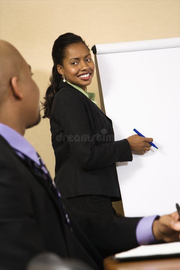 Vrouw die zaken voorstelt. stock afbeeldingen