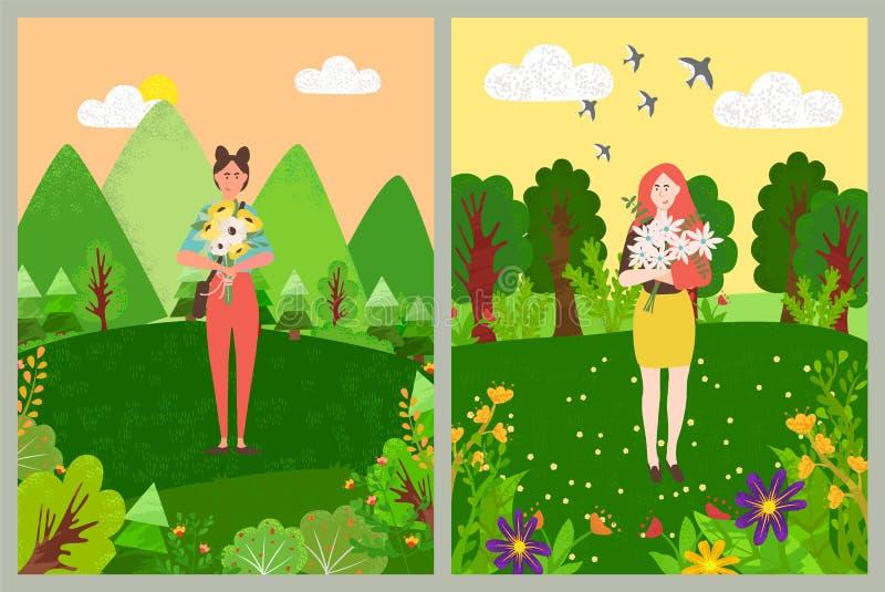 Vrouw die zich met Boeket van Bloemen in Bloei bevinden royalty-vrije illustratie