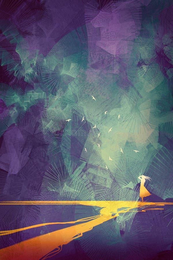 Vrouw die zich op gele lijn tegen hemel met grafische stijl bevinden stock illustratie