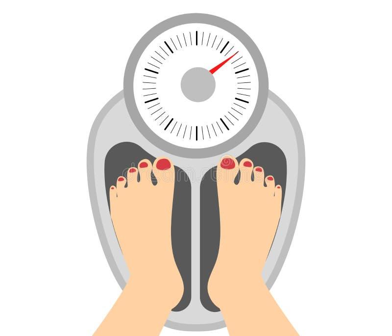 Vrouw die zich op gewicht bevinden vector illustratie