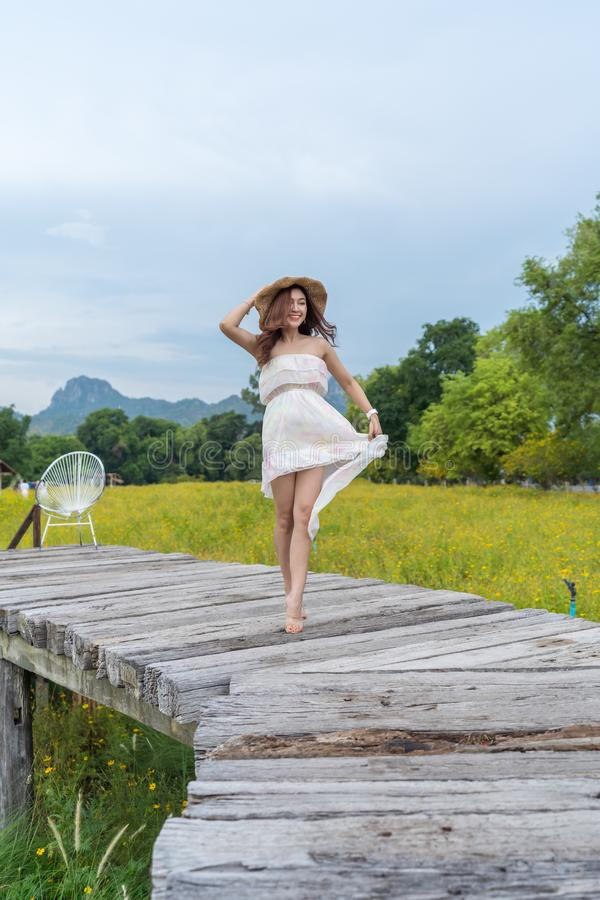 vrouw die zich op houten brug met het gele gebied van de kosmosbloem bevinden royalty-vrije stock foto