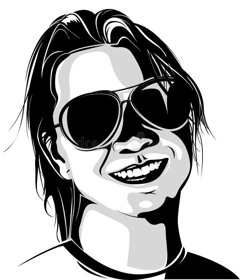 Vrouw die zonnebril draagt royalty-vrije illustratie